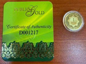 1 dinar 24K tempatan Public Gold mesra Ar-Rahnu
