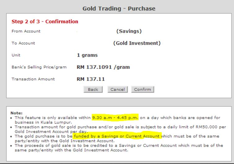 Contoh transaksi Public Bank Gold Investment Account online trading
