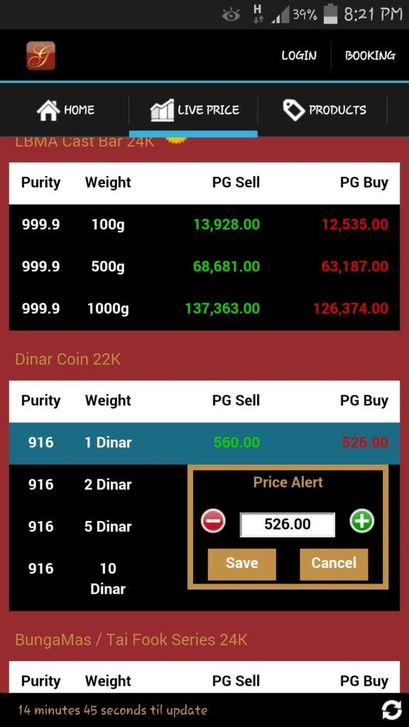 Aplikasi price alert Public Gold
