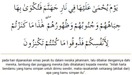 At-Taubah ayat 35 mengenai zakat emas dan perak.