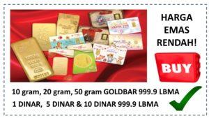 Cara Beli Dinar dan Goldbar 24k Masa Harga Emas Rendah Jun 2020