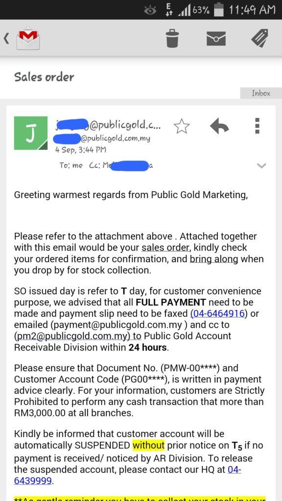 Emel sales order Public Gold