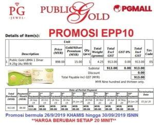 Easy Payment Plan (EPP) 10 -1 dinar Public Gold.