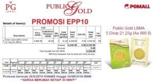 Easy Payment Plan (EPP) 10 - 5 dinar Public Gold.