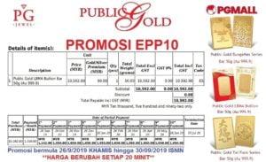 Easy Payment Plan (EPP) 10 - 50 gram Goldbar Public Gold.