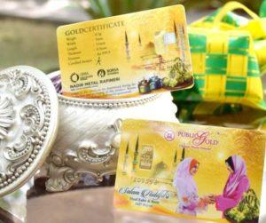 Gold bar 0.5g Public Gold dengan tema Hari Raya - sangat manfaat untuk gantikan wang kertas sebagai duit raya.