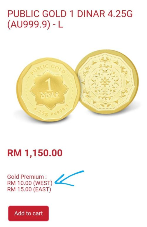 Harga 1 Dinar 999 Pubic Gold RM1150