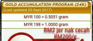 Harga emas pelaburan Public Gold RM198/g pada 05/09/2017. (Sumber: www.publicgold.com).