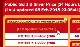 Harga emas GAP - dikemaskini setiap 12 tengah malam.