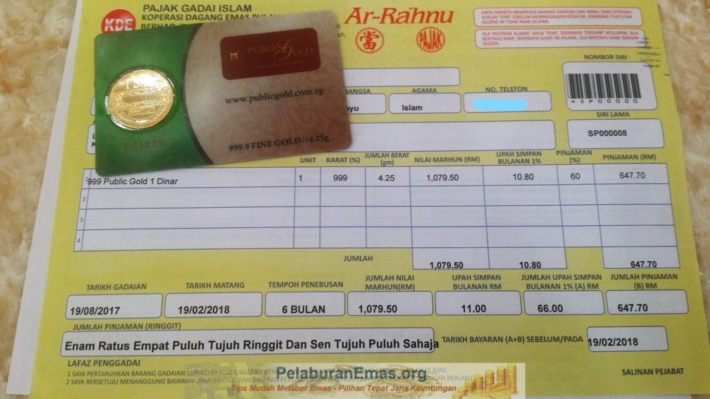 Pajak gadai Ar-Rahnu 1 Dinar LBMA Public Gold 24K.