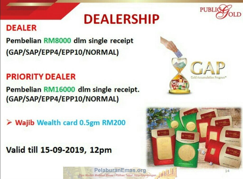 Promosi Dealer Public Gold tanpa PGGT 13-15 September 2019.