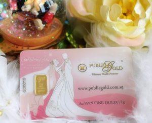 Gold bar 1g Public Gold dengan tema Wedding