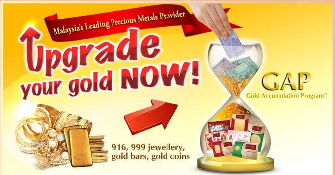 Infografik 4: Jual emas 916, 999 atau emas perhiasan jenama lain dengan harga tinggi untuk tukar kepada emas GAP 24K LBMA Goldbar atau Dinar Public Gold.